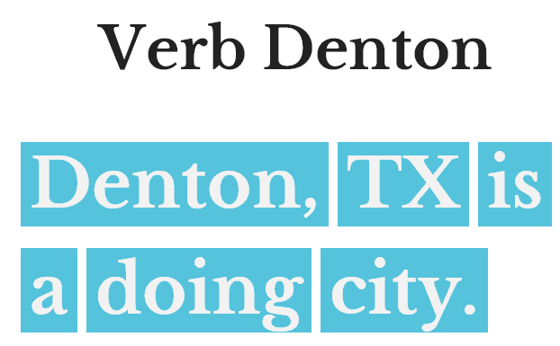 Verb Denton logo and tagline