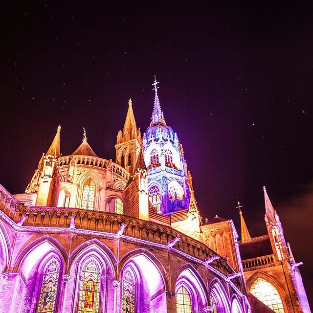 #bayeuxcathedral light show. To the right is the #treeofliberty where a 360 degree projection on its trunk tells stories of liberty throughout modern history. #france #bayeux #pkgreece2015 #visualauthority