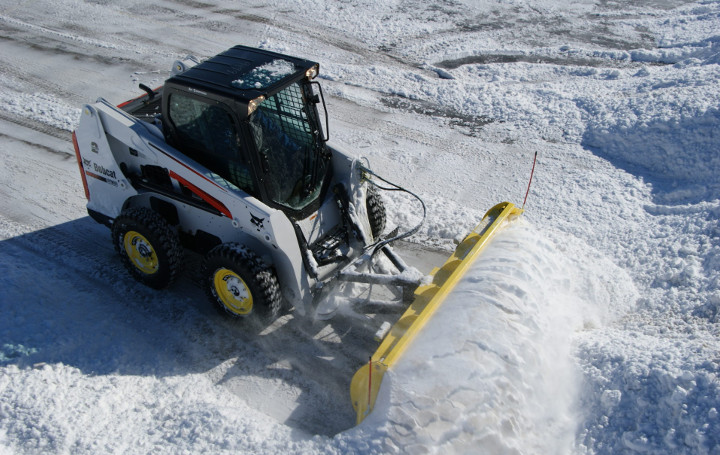 snow plowing in MA