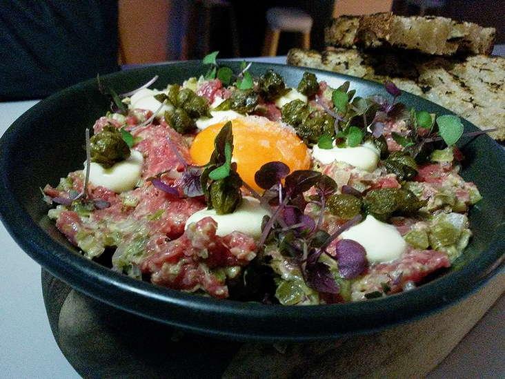 Steak tartare. Raw meat that actually tastes good.