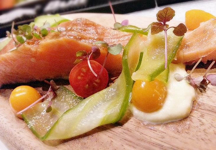 The beautifully plated smoked trout dish.