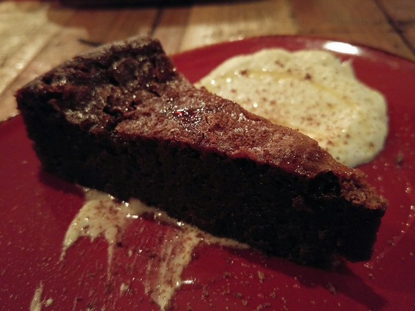 Sin Vida Day of the Dead cake. Mexican chocolate cake, agave, cafe XO cream.