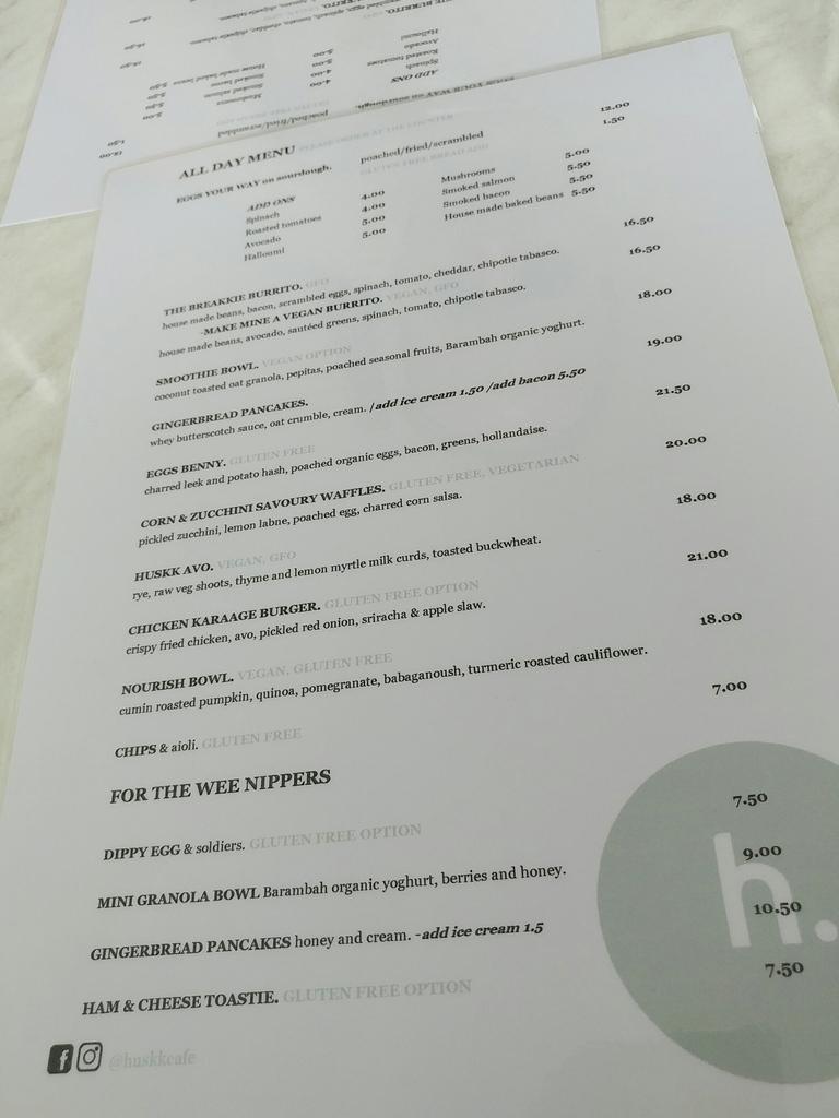 huskk cafe menu