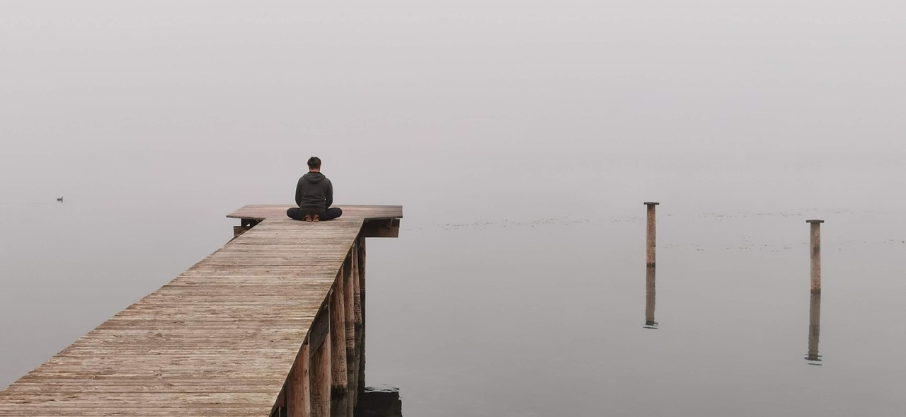 meditate, lake, mood