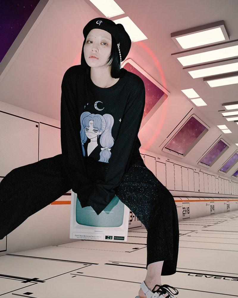 韓国 ファッション ロングTシャツ