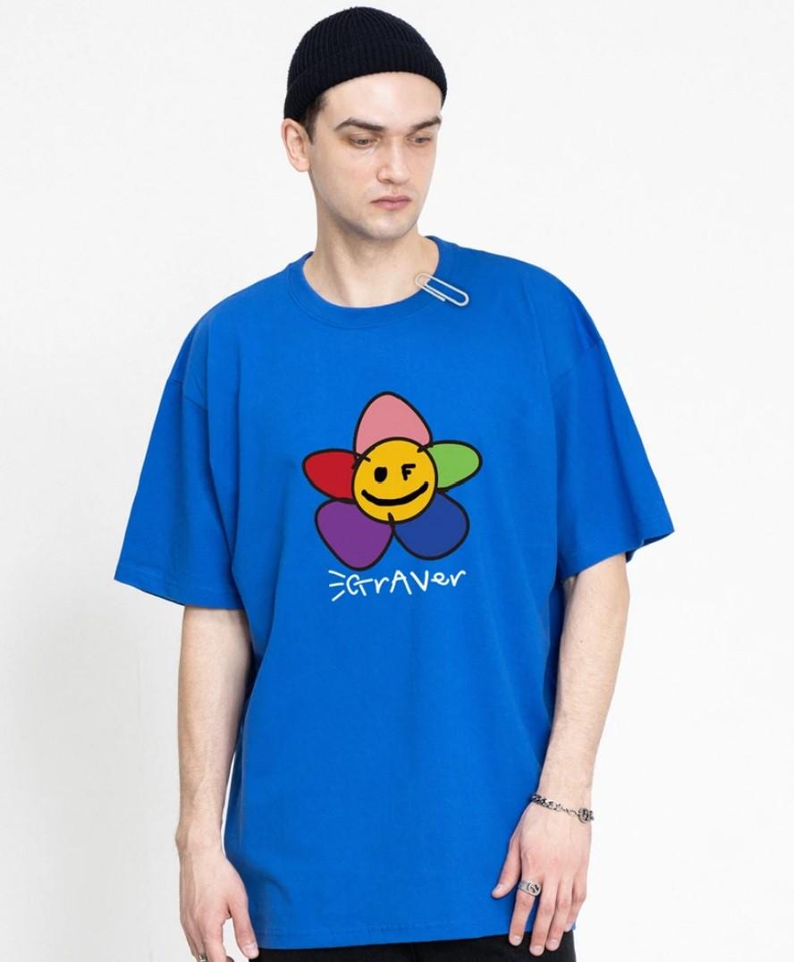 GRAVER (グレーバー) レインボーフラワーTシャツ