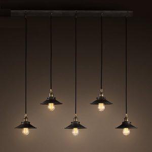 Hollie Adjustable Cord 5-light Edison Lamp with Bulbs