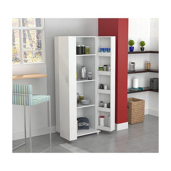 "66.1"" White Melamine and Engineered Wood Storage Cabinet"