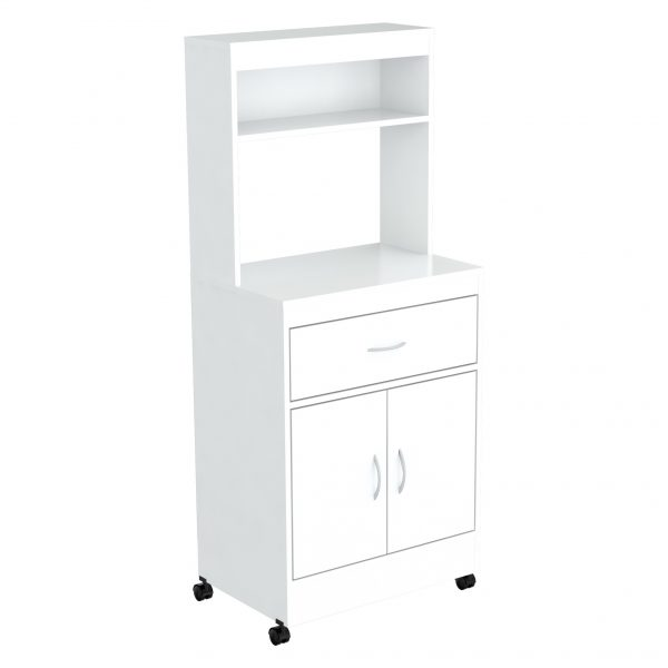 """56.3"""" White Melamine and Engineered Wood Microwave Cabinet"""
