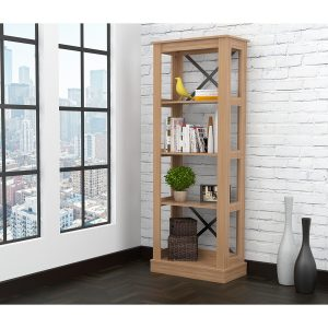 """70.9"""" Brown Melamine and Engineered Wood Bookcase"""