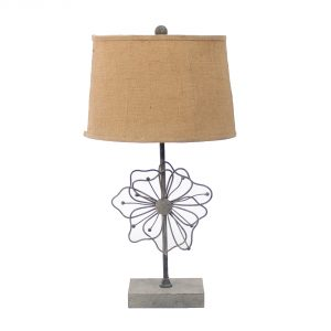 """11"""" x 15"""" x 27.75"""" Tan, Country Cottage with Blooming Flower Pedestal - Table Lamp"""