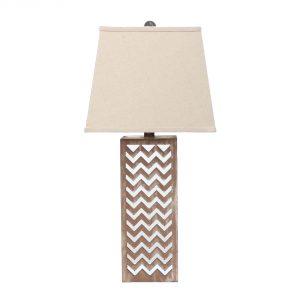 """6"""" x 6"""" x 27.5"""" Tan, Metal, Mirror - Table Lamp"""