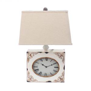 "7"" x 7"" x 22"" White, Vintage, Metal Clock Base - Table Lamp"