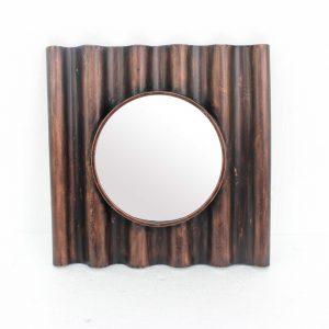 "24"" x 24"" x 3"" Bronze, Panpipe-Like, Wooden Cosmetic - Mirror"