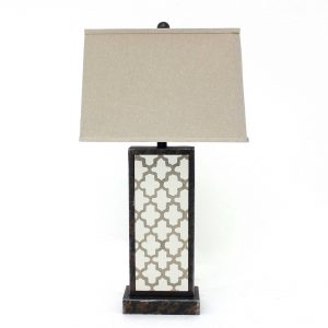"5.25"" x 8"" x 30"" Bronze, Rock Floral Base - Table Lamp"