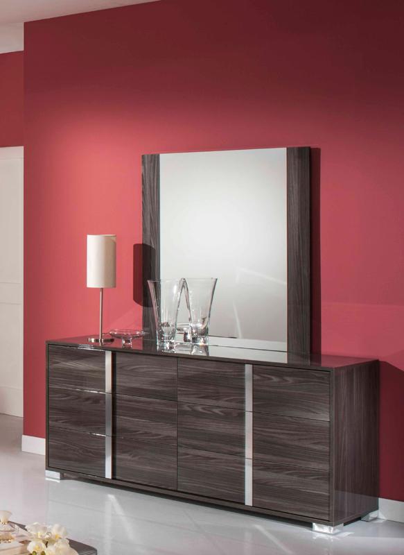 "41"" Grey MDF, Glass, and Veneer Mirror"