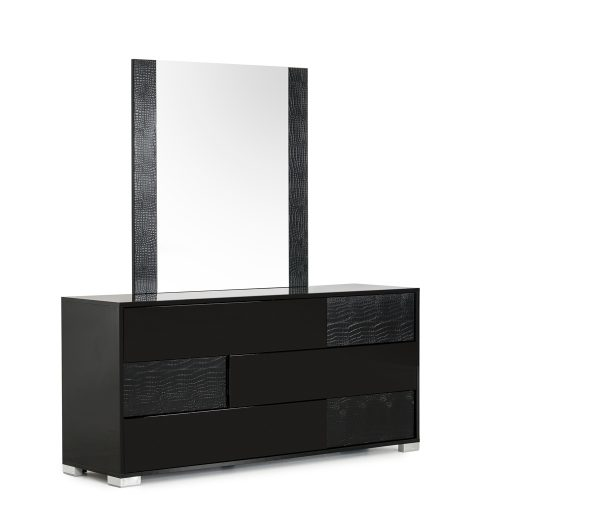 """41"""" Black MDF and Glass Mirror"""