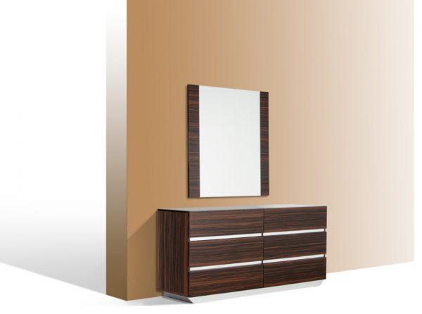 "45"" Ebony MDF, Glass, and Veneer Mirror"