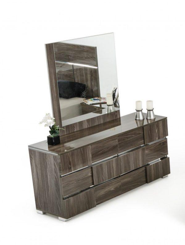 "39"" Grey MDF, Veneer, and Glass Mirror"