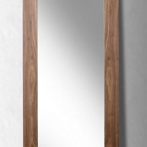 "79"" Walnut MDF, Veneer, and Glass Mirror"