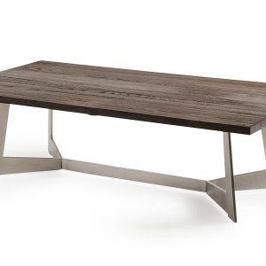 """16"""" Dark Aged Oak Wood, Veneer, and Steel Coffee Table"""