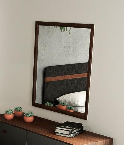 "35"" Walnut MDF, Veneer, and Glass Mirror"