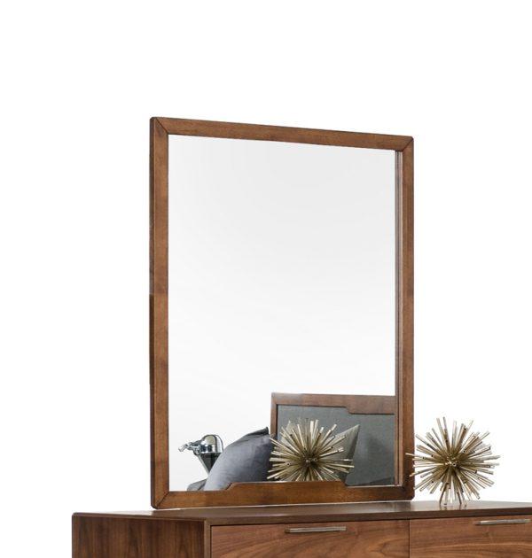 "40"" Walnut MDF, Veneer, and Glass Mirror"