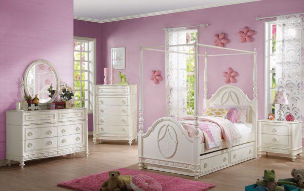 """48"""" X 9"""" X 35"""" Ivory Pine Wood Dreamy Mirror"""