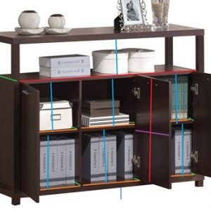 """47"""" X 15"""" X 35"""" Espresso Hill Cabinet with 3 Doors"""