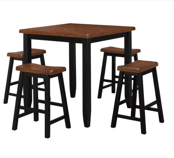 "36"" X 36"" X 36"" 5pc Oak & Black Rubber Wood Counter Height Set"