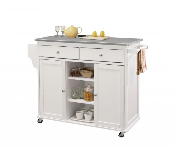 """47"""" X 18"""" X 34"""" Stainless Steel And White Kitchen Island"""