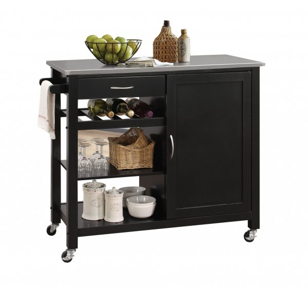"""42"""" X 18"""" X 34"""" Stainless Steel And Black Kitchen Island"""