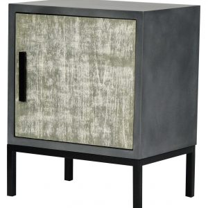 """27"""" Distressed Gray Iron Accent Cabinet with a Wood Door"""