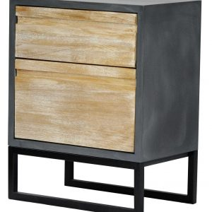 """27"""" Distressed Gray Wood Accent Cabinet with 2 Drawers"""