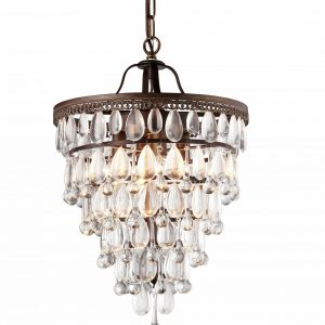 Martinee Antique Bronze and Crystal Inverted Pyramid Chandelier
