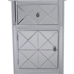 """32.7"""" Antique White Wood Beveled Glass Accent Cabinet with a Drawer and a Door"""