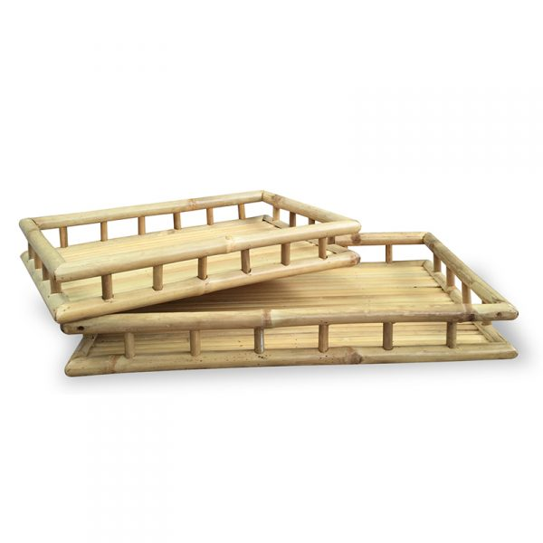 "3"" 2 Natural Bamboo Nesting Trays"