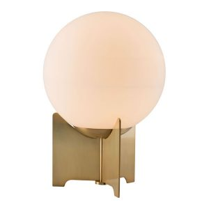"""16.5"""" X 9.8"""" X 27.2"""" White And Brushed Bronze Frosted Glass Table Lamp"""
