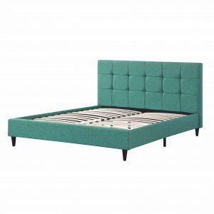 Eastern King Blue Modern Upholstered Square Stitched Platform Bed