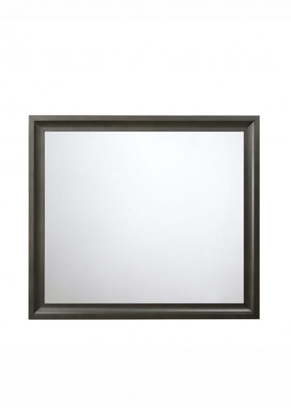 """39"""" X 35"""" Antique Gray Rubber Wood Mirror"""