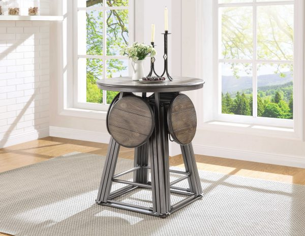 """30"""" X 30"""" X 36"""" 5pc Gray Oak And Bronze Counter Height Set"""