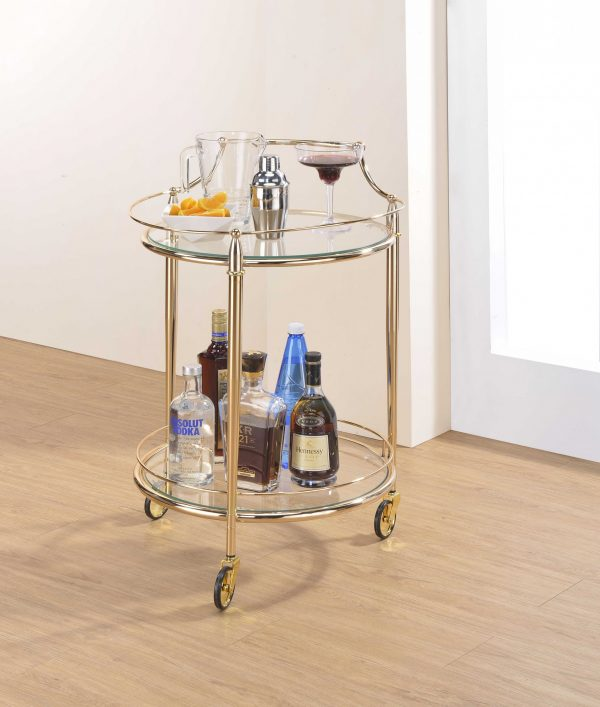 """21"""" X 20"""" X 31"""" Gold And Clear Glass Serving Cart"""