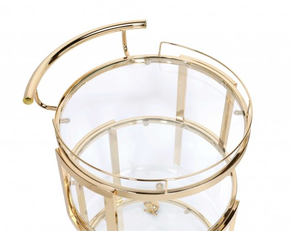 """22"""" X 21"""" X 34"""" Gold And Clear Glass Serving Cart"""