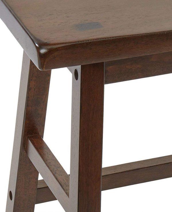 "18"" Walnut Wooden Stool (Set of 2)"