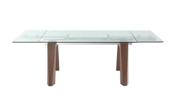 """Extendable Dining Table 1/2"""" Tempered Clear Glass Top,"""