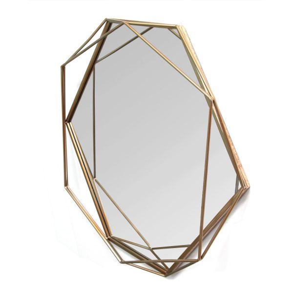 "31.5"" X 3.15"" X 29.53"" Gold Octagon-Shaped Wall Mirror"