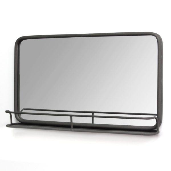 """24"""" X 4"""" X 14"""" Gunmetal Metal Mirror With Shelf"""