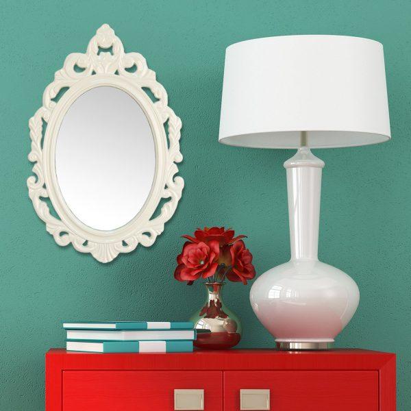 """15.25"""" X 0.5"""" X 23.25"""" White Baroque Mirror"""