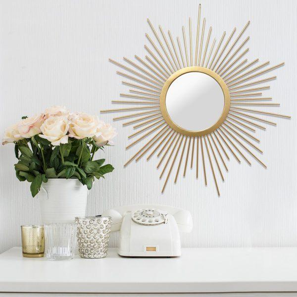 "20"" X 1"" X 20"" Gold Wall Mirror Solid Metal"