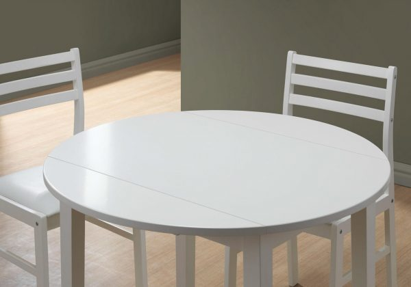"""68"""" x 66.5"""" x 95"""" White, Foam, Solid Wood, Leather-Look - 3pcs Dining Set"""